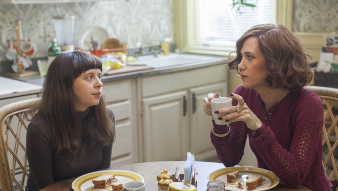 """This photo provided by Sony Pictures Classics shows, Bel Powley as Minnie Goetze, and Kristen Wiig as Charlotte Goetze, in a scene from the film, """"The Diary of a Teenage Girl."""" The movie releases in U.S. theaters on Aug. 7, 2015.  (Sam Emerson/Sony Pictures Classics via AP)"""