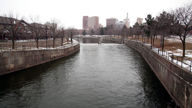 The Flint River flows in downtown January 17, 2016, in Flint, Michigan.