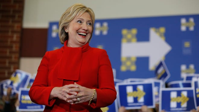 Hillary Clinton speaks at Valley Southwoods Freshman High School in West Des Moines, Sunday, Jan. 24, 2016.