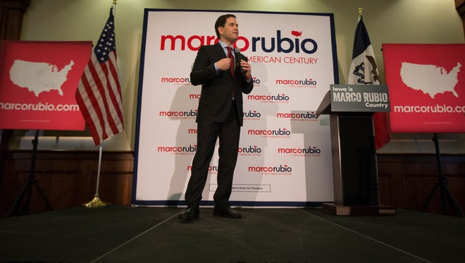 Senator Marco Rubio speaks during a campaign stop at Forte Banquet Hall in Des Moines, Monday, Jan. 25, 2016.