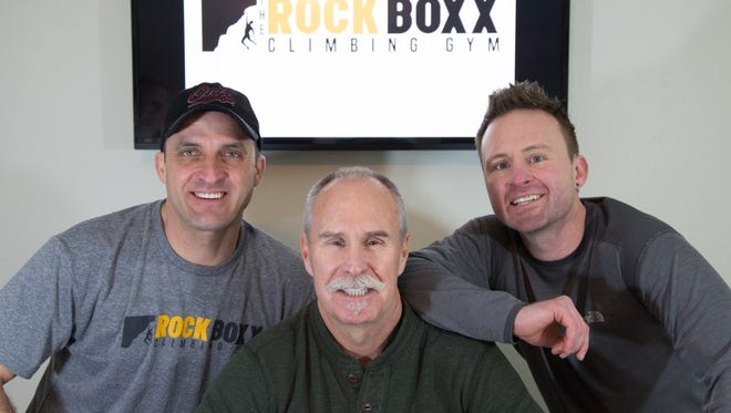 From left, Cory Cochran, Cole Clarke Sr. and Cole Clarke Jr. are planning to open Salem's first indoor rock climbing gym, Rock Boxx.