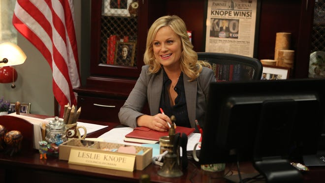 "Actress Amy Poehler plays main character Leslie Knope in the NBC comedy ""Parks & Recreation."""