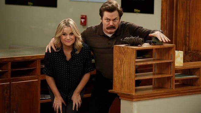Leslie Knope (Amy Poehler) and Ron Swanson (Nick Offerman) are jumping ahead with the rest of the cast.
