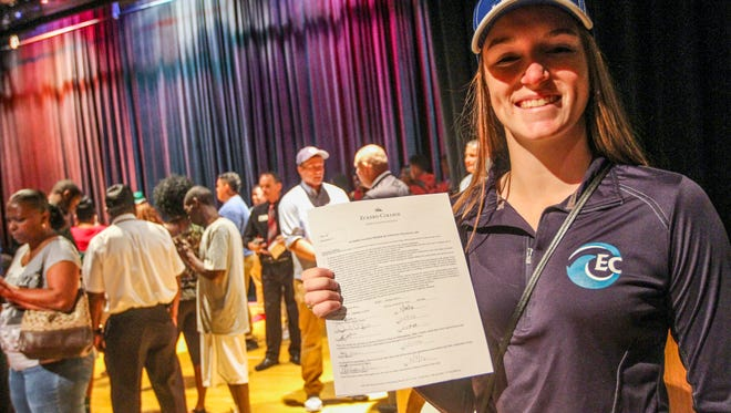 Casey Winn of South Fort Myers High School shows her soccer National Letter of Intent to Eckerd College on Wednesday, Feb. 3rd, 2016. South held a ceremony for five of its top athletes.