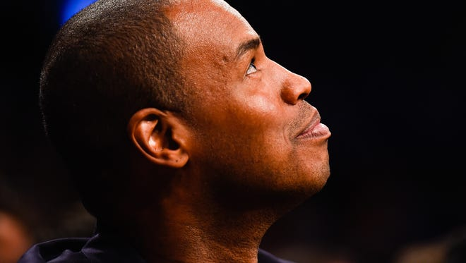 Jason Collins looks on in the first half during a game between the Brooklyn Nets and Milwaukee Bucks at the Barclays Center on November 19, 2014 in the Brooklyn borough of New York City. NOTE TO USER: User expressly acknowledges and agrees that, by downloading and/or using this photograph, user is consenting to the terms and conditions of the Getty Images License Agreement.  (Photo by Alex Goodlett/Getty Images)