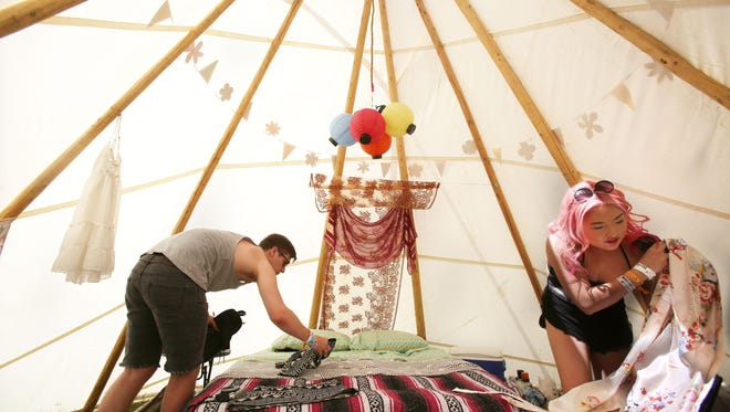 Reed North and Tantan Araya opted to rent a tepee-style tent at Lake El Dorado on the grounds of the Coachella Valley Music and Arts Festival for the first 2014 weekend.