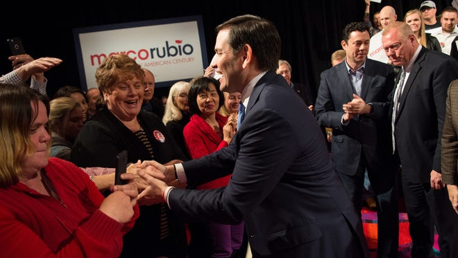 Marco Rubio meets supporters at the Peppermill Resort Spa/Casino on Feb. 22, 2016 in Reno, Nev.