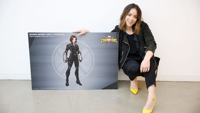 'Marvel Agents of S.H.I.E.L.D.' actress Chloe Bennet with her video game avatar