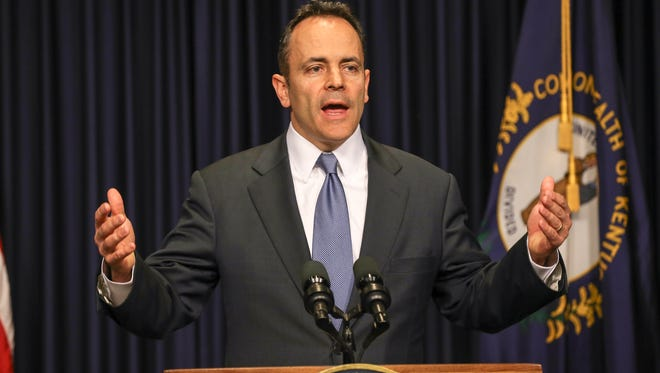 Governor Matt Bevin speaks during a press conference about Benefind.March 31, 2016