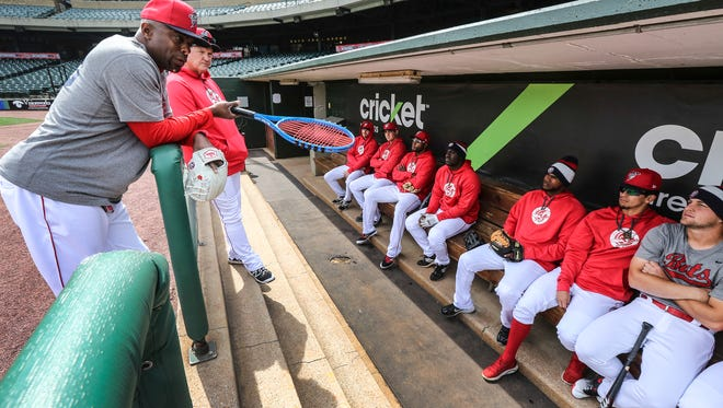 Bats Manager Delino DeShields talks to his hitters in the dugout during media day at Slugger Field.April 6, 2016