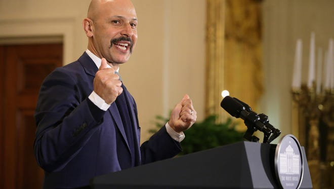Iranian-American comedian Maz Jobrani delivers remarks and tells jokes during a reception marking the Persian new year celebration of Nowruz in the East Room at the White House April 6, 2016 in Washington, DC.