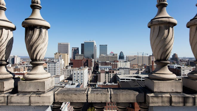 A view of downtown Louisville from the roof of the Brown Hotel.