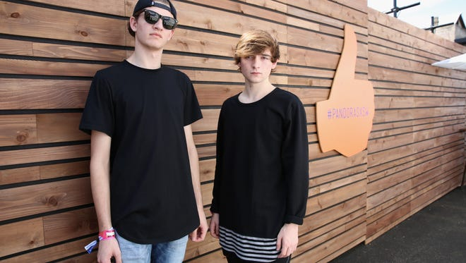 Robby Hauldren and Freddy Kennett of Louis The Child pose backstage during the PANDORA Discovery Den SXSW on March 16, 2016 in Austin, Texas.