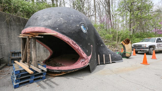 Willie the Whale,  formerly of Indianapolis Zoo fame, and currently on loan from the City of Rushville, sits on the loading dock before installation in to the 18th mini golf hole by artist Quincy Owens, on the Alliance Sculpture Court at the Indianapolis Museum of Art, Tuesday April 19th, 2016. The course will feature 18 holes by local, regional, and national artists inspired by Indiana history. The course opens May 6th to members, and May 10th to the public.