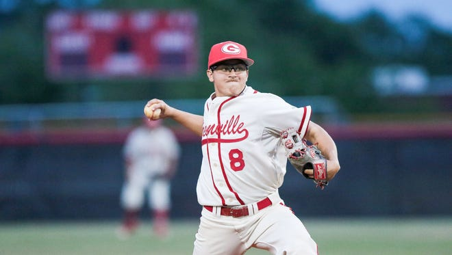 Greenville junior right-hander Fletcher Mazzola threw a four-hit shutout to lift the Red Raiders to an 8-0 win over Hillcrest Tuesday night at Grover Reid Field.