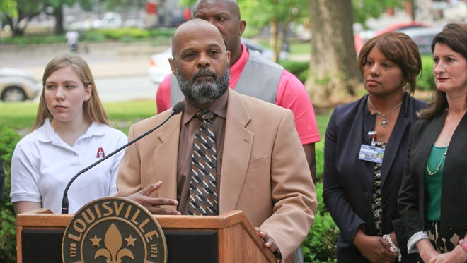 Air Pollution Control District Director Keith Talley, Sr. speaks during a press conference discussing the Louisville Urban Heat Management Study commissioned through the Office of Sustainability in Louisville, KY. Apr. 25, 2016