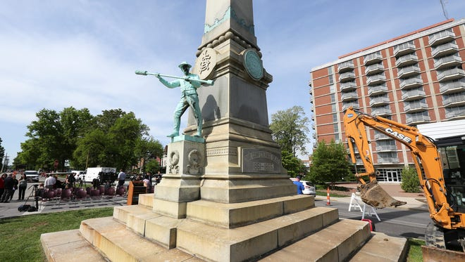 The Confederate monument stands on the corner of S. Third Street at the University of Louisville.