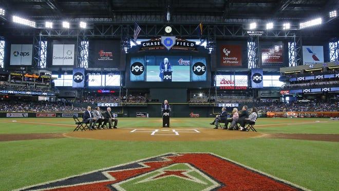The Arizona Diamondbacks host a tribute to Joe Garagiola on Monday, May 16, 2016 at Chase Field in Phoenix, Ariz.