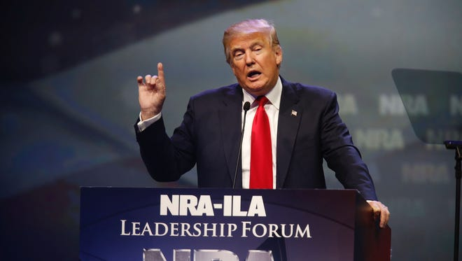 GOP presidential front-runner, Donald Trump speaks to the NRA gathering in Louisville, KYl, on Friday.