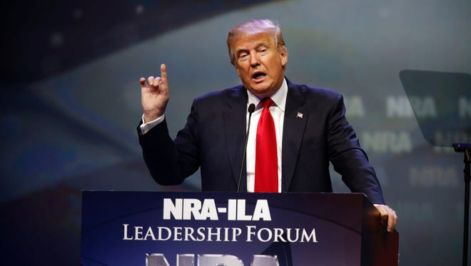 Donald Trump speaks during the NRA Annual Convention Leadership Forum Friday at Freedom Hall.