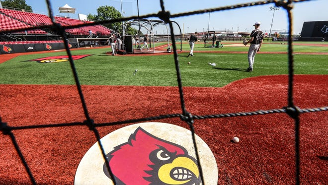 Louisville baseball had a brief practice Monday at Patterson Stadium.