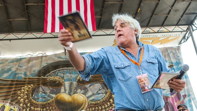 """Jay Leno on stage during a California charitable event Oct. 18, 2015. The former host of """"The Tonight Show"""" performs in Branson Sept. 30, 2016."""