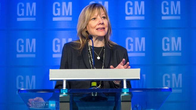 General Motors Chairman and CEO Mary Barra conducts a media briefing prior to the start of the 2016 General Motors Company Annual Meeting of Stockholders Tuesday, June 7, 2016 at GM Global Headquarters in Detroit, Michigan. (Photo by Jeffrey Sauger for General Motors)