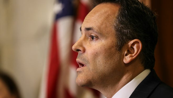 Governor Matt Bevin holds a press conference on Friday morning just outside of his office to announce changes at the University of Louisville including the resignation of President James Ramsey and an overhaul of the Board of Trustees.June 17, 2016