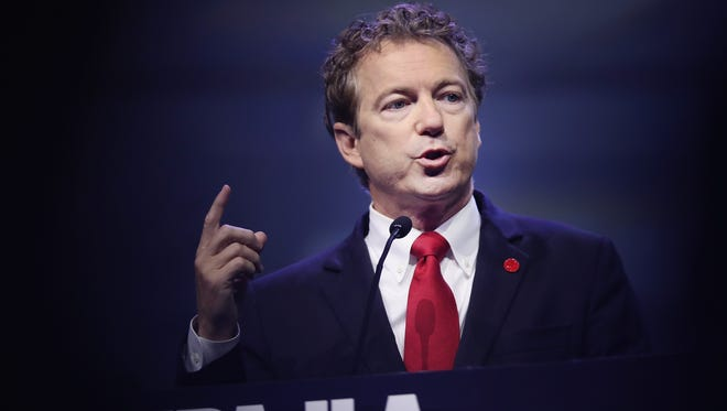 Sen. Rand Paul (R-Ky.) speaks at the National Rifle Association's NRA-ILA Leadership Forum during the NRA Convention at the Kentucky Exposition Center on May 20, 2016 in Louisville.