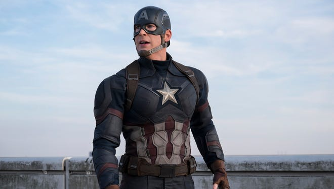 "Chris Evans decked out in red, white and blue in ""Captain America: Civil War."""