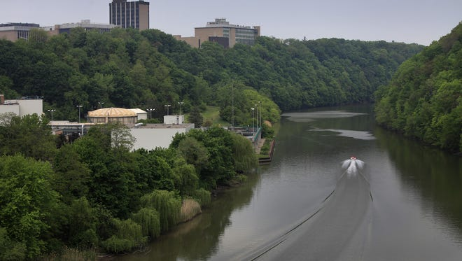 Lower Genesee River with the Kings Landing wastewater treatment plant on the left.
