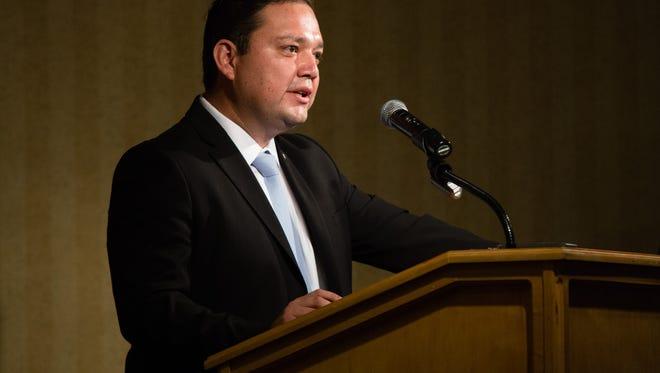 Coachella Mayor Steven Hernandez delivers his State of the City address at the Coachella Spotlight 29 Casino on Thursday, July 28, 2016.