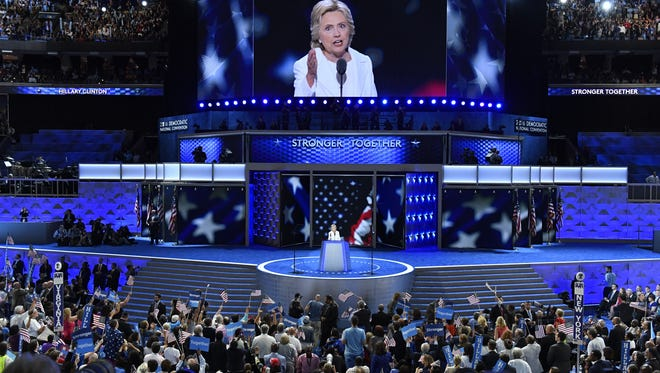 Democratic presidential nominee Hillary Clinton speaks during the 2016 Democratic National Convention in Philadelphia on July 28, 2016.