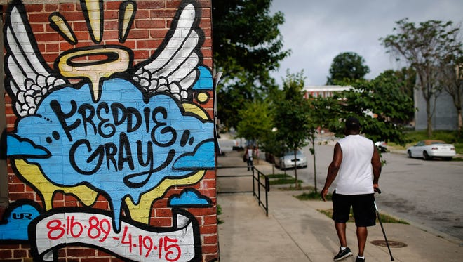 A mural dedicated to Freddie Gray is shown near August 10, 2016 in Baltimore near the location where he was arrested  .