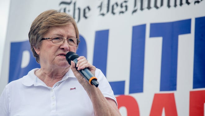 Democratic candidate for U.S. Senate Patty Judge speaks at The Des Moines Register Political Soapbox during the Iowa State Fair in Des Moines, Sunday, Aug. 14, 2016.