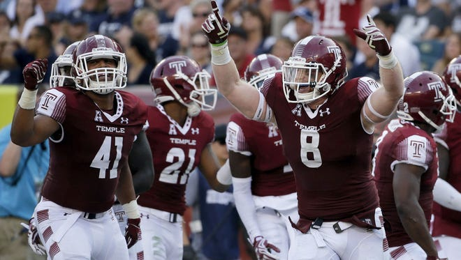 Win tickets to an upcoming Temple Owls football game. Here, Temple's Tyler Matakevich in action during an NCAA college football game against Penn State in 2015 in Philadelphia.