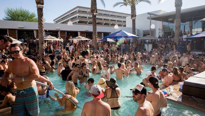 The pool scene during Odesza's DJ set at Maya Day Club in Scottsdale on Saturday, September 3, 2016.