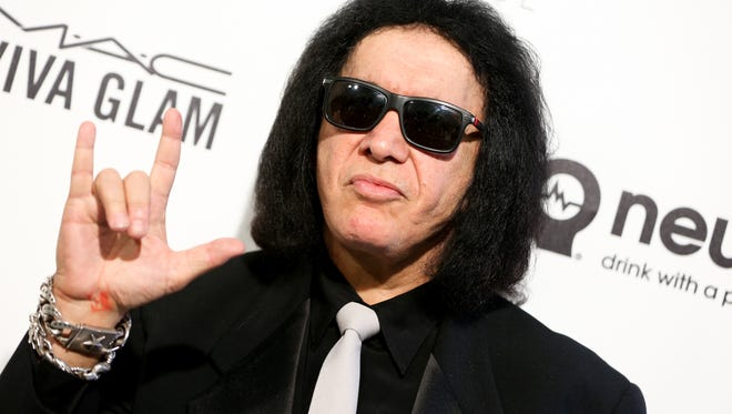 Gene Simmons, seen arriving at the 2016 Elton John AIDS Foundation Oscar Viewing Party in February, will make an appearance Sunday at Morongo Casino.