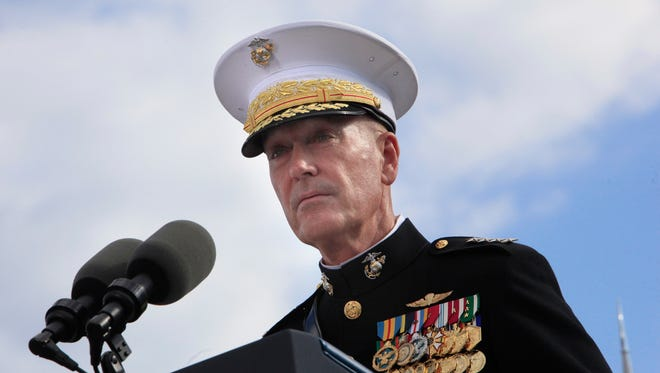 Joint Chiefs of Staff Gen. Joseph Dunford speaks during a ceremony to mark the 15th anniversary of the 9/11 terrorists attacks at the Pentagon Memorial on Sept. 11, 2016 in front of the Pentagon in Arlington, Va.