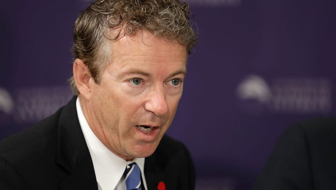 Sen. Rand Paul (R-KY) participates in a discussion about legislation to halt the sale of some weapons to Saudi Arabia at the Center for the National Interest September 19, 2016 in Washington.