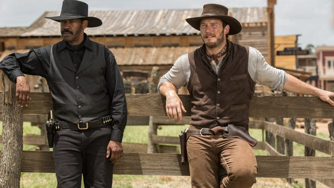 Denzel Washington and Chris Pratt are part of the large posse in 'The Magnificent Seven.'