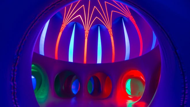 """""""Arboria Luminarium,"""" an inflatable art display, will open Thursday and stay open to the public through the weekend, at Cowles Commons in Des Moines, Wednesday, Sept. 21, 2016."""