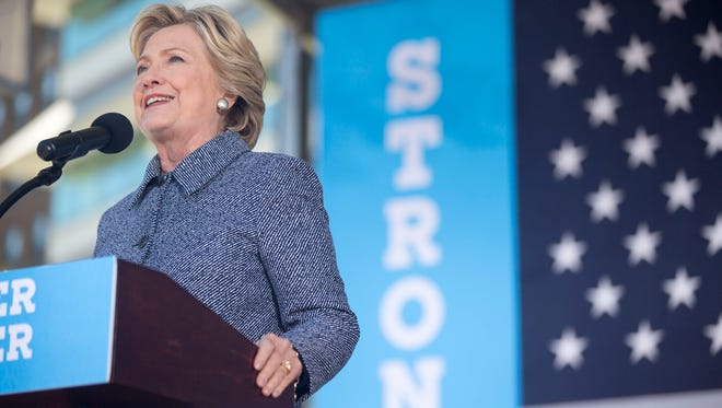Hillary Clinton speaks at a rally at Cowles Commons in downtown Des Moines on Thursday, Sept. 29, 2016.