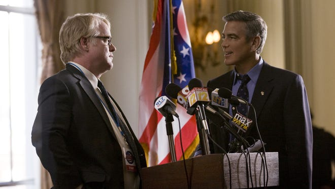 """Philip Seymour Hoffman, left, and George Clooney star in Columbia Pictures' """"Ides of March."""""""