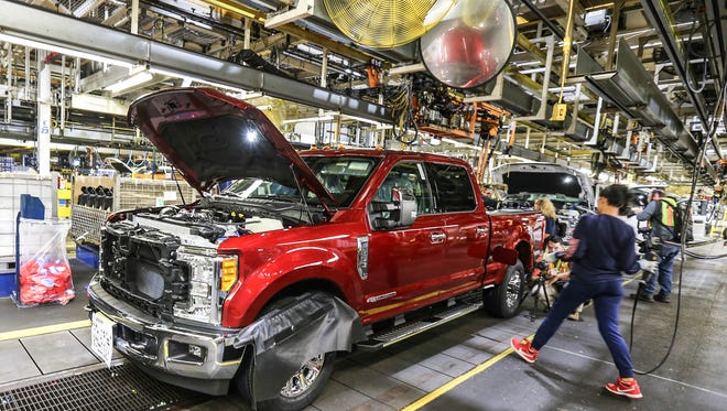 Ford Super Duty trucks on the assembly line at the Kentucky Truck Plant.September 30, 2016