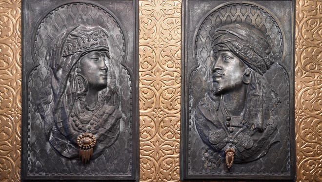 MIKE LAWRENCE / COURIER & PRESSTwo Moorish themed cast iron panels that once hung in the Reitz Home were recently given to the museum as a gift, June 10, 2016.