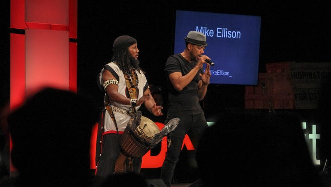 Detroit-based musician Mike Ellison performed with a large group of dancers and percussionists during his set at the Tedx Detroit conference on Thursday, October 6, 2016.