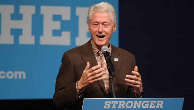 Former President Bill Clinton stumps for wife and Democratic presidential candidate Hillary Clinton Oct. 12 at Simpson College in Indianola.