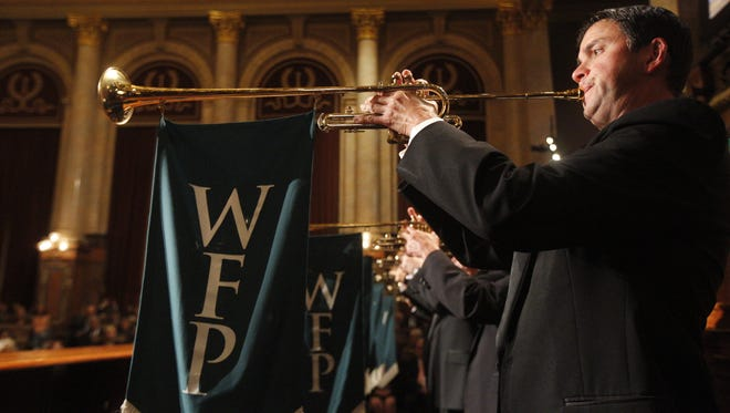 Trumpeters play during The World Food Prize 2016 Laureate Award Ceremony at the Capitol Building in Des Moines, Thursday, Oct. 13, 2016.