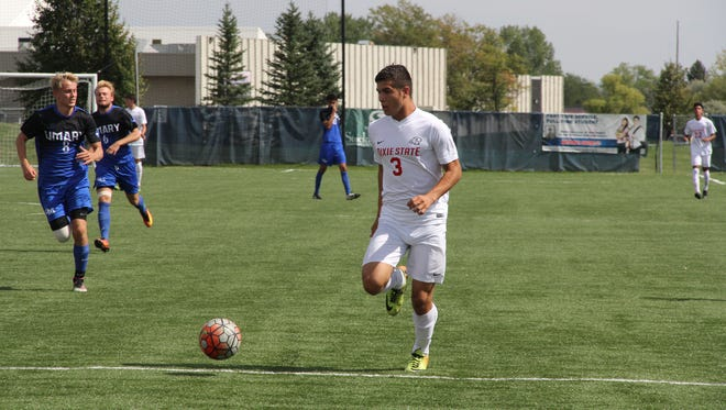 Dixie State men's soccer forward Moises Medina (No. 3) in a game earlier this season.